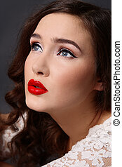 Glamorous diva - Close-up portrait of beautiful girl with...