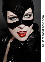 Catwoman - Black and white colored portrait of sexy woman in...