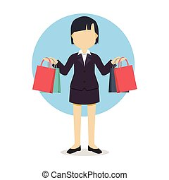 businesswoman with shoping vector illustration design