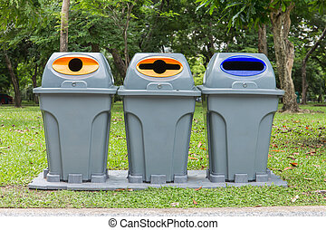 Three type of trash bin,Recycle in the park