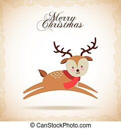 merry christmas reindeer decoration card