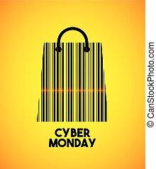 cyber monday sale commerce vector illustration design