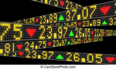 3D Stock Market tickers sliding then disolving in empty...