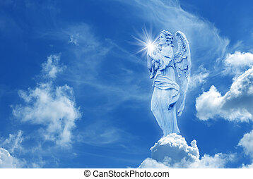 Beautiful angel in heaven with divine rays of light - Angel...