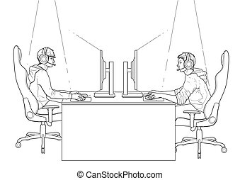 Cyber sport design - Two computer players sitting at the...