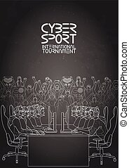 Cyber sport design - Two teams of five players sitting at...