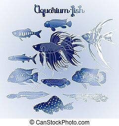 Graphic aquarium fish set
