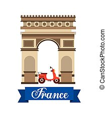 Arch of Triumph travel icons vector illustration design
