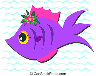 Purple Fish with Hibiscus Flower