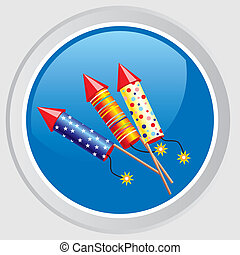petard - Vector icon. Button with the image celebratory...