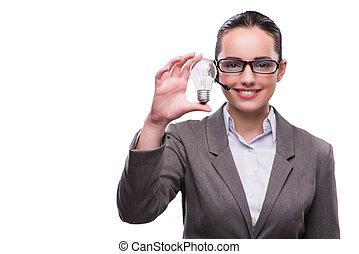 Call center operator with light bulb isolated on white