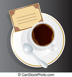 coffee - Vector image of coffee appliance with an invitation