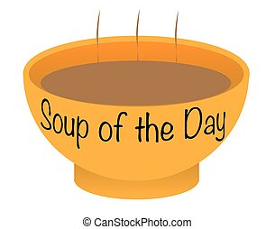 Soup of the Day Bowl - A soup of the day bowl over a white...