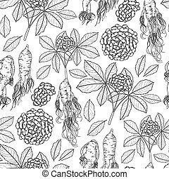 Graphic ginseng pattern - Graphic ginseng seamless pattern...