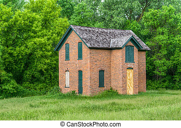Abandoned Brick Farmhouse in the United States