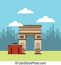 Arch of Triumph travel icons