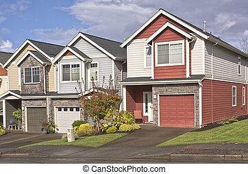 Family homes in a row Oregon.