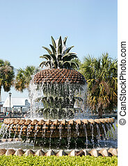 pineapple fountain in daylight at Waterfront Park,...