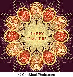 Greeting Card Happy Easter with golden and red gradient eggs...
