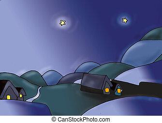 paesaggio di montagna  con case, notturno luna e stelle