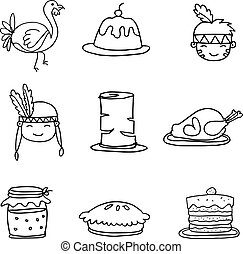 Set of Sketch doodle Thanksgiving vector