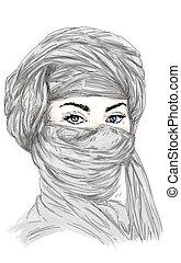 araba, donna con turbante, e occhi azzurri Questa immagine...