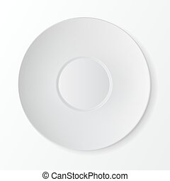 White Round Sauser Top View. Table Setting - Vector White...