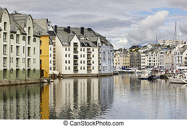 Alesund. Buidings and canal. Norwegian traditional tourist...