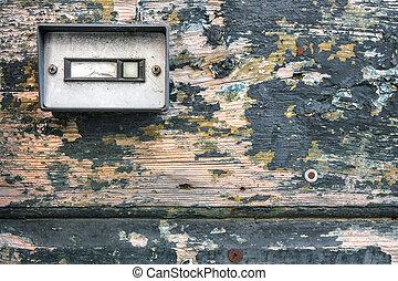 The bell at old door - Retro doorbell on old wood door