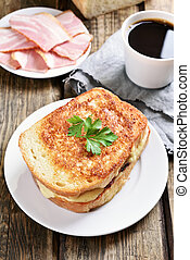 Breakfast, country style - Breakfast toast sandwich with...