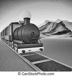 Locomotive of steam train, square black and white image, 3d...