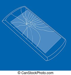 Vector illustration of broken mobile phone.The crack on the screen.