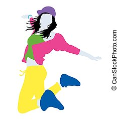 Hip Hop Silhouette - Women Dancing Modern and Fashionable...