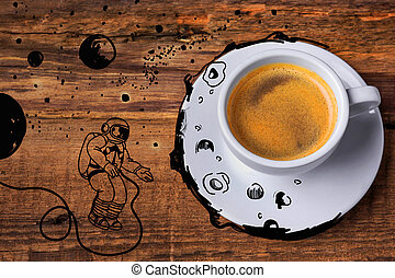 Coffee cup on a wooden table. - Coffee cup and on a wooden...