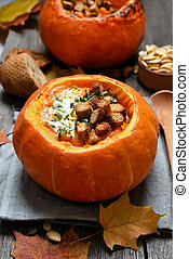 Cream soup in pumpkin - Cream soup in a pumpkin, healhty,...