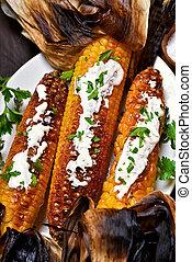 asado parrilla, maíz, Mazorcas