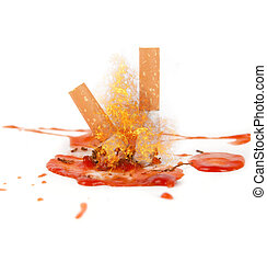 smoking kills concept. cigarettes with blood isolated on...