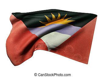 Antigua and Barbuda flag waving - 3d rendering of an old and...