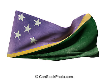 Solomon Islands flag - 3d rendering of an old Solomon...