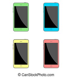 Stock Vector set of isolated flat colored smartphones. Realistic style.