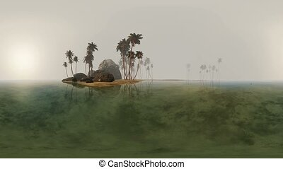 panorama of tropical island beach in deep fog. made with one...