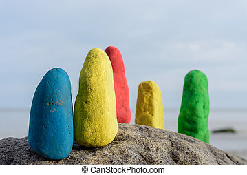Group of coloured stones - Colour stones on the seashore