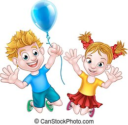 Cartoon Boy and Girl Jumping with Balloon