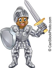 Cartoon Boy Knight - Cartoon young black knight boy in his...