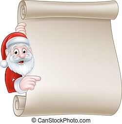 Santa Christmas Scroll Sign - Santa cartoon Christmas...