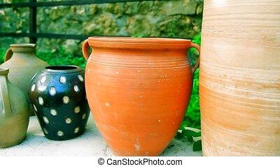 Clay pots outdoor decor - decorative clay vases in garden