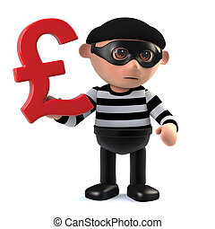 3d Burglar has UK Pounds Sterling currency symbol - 3d...