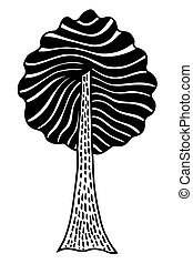 Monochrome abstract tree. Vector image, Monochrome Hand...