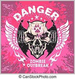 Zombi Apocalypse - emblem with skull on grunge background. -...
