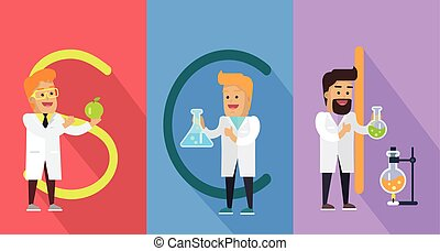 Science Conceptual Vector Banner. Human Characters
